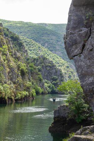 Boat riding through the Matka canyon