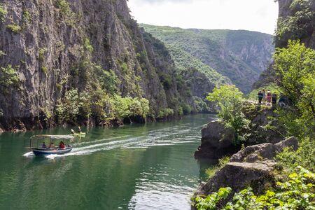 Boat and canoe riding through the Matka canyon