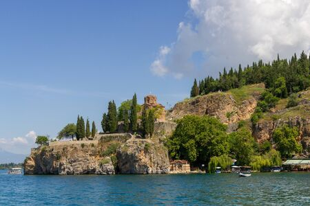 Nice view to the church of st John from a boat near Ohrid 版權商用圖片