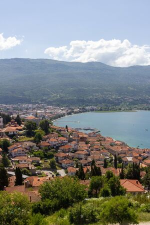 Aerial view over the bay, harbor and city of Ohrid