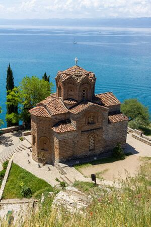 The church of st John with Lake Ohrid in the background