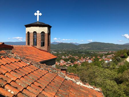 Rooftop and tower with cross of St Petka with nice view over valley and mountains