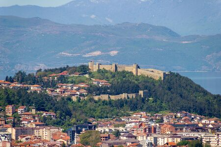 Panorama of Ohrid vity with Fortress and mountains
