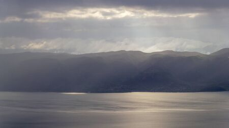 Storm and clouds over the mountains at Lake Ohrid
