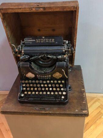 BITOLA, MACEDONIA - MAY 12, 2019: Stoewer typewriter. Very old typewriter in good shape