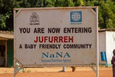 JUFUREH, GAMBIA- JAN 12, 2014: Sign of the village Jufurreh. The village is famous as birthplace of Kunte Kinte