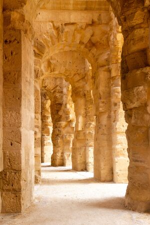Hallways of El Jem, with is the third largest amphitheater of the Roman empire in Tunisia