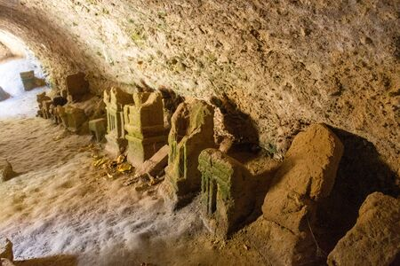Grave stones in a cave. The cemeteries are believed to have been used by Carthaginians to ritual sacrificed their own young