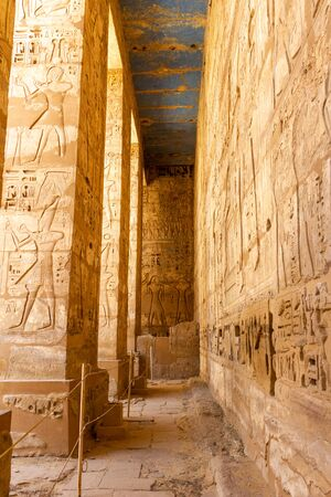 Hallway with square columns at Medinet Habu, this is a large and well preserved temple in Luxor