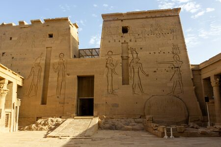 The second pylon at the Philae temple near Aswan, with reliefs showing gods of Egypt
