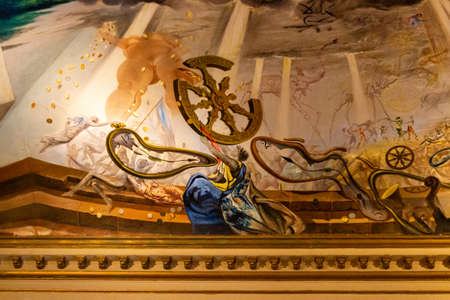 Details of painted ceiling in the Dali museum