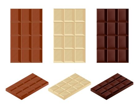 Set of chocolate bars in three colors, vertical and isometric. Çizim
