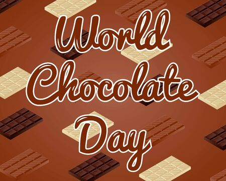 World chocolate day text with chocolate bars background.