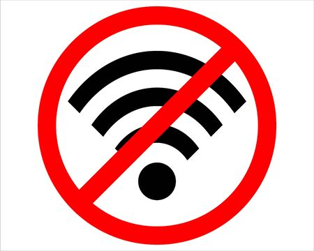 No Wifi sign. Wi-fi symbol. Wireless Network icon. Wifi zone. Red prohibition sign. Stop symbol. Vector