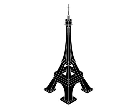 black silhouette of the Eiffel Tower on a white background Иллюстрация