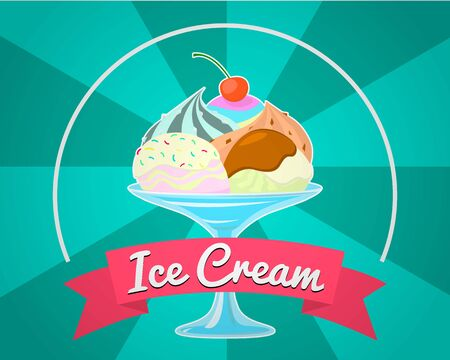 Colorful Ice cream shop logo label or emblem in caartoon style for your design on suburst background. Vector illustration. Vettoriali