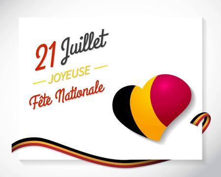 Fete nationale. Translation - Belgian National Day. Belgium Independence day. Celebrated in Jule 21. Patriotic design. Background, poster, greeting card, banner design. Vector EPS 10