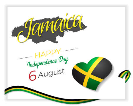 Happy Independence Day Celebration of Jamaica greetings and wishes. Creative concept vector illustration with flag and patriotic elements.