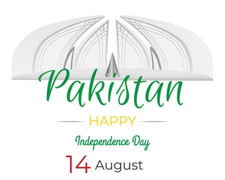 Pakistan Independence Day - 14 August Pakistani National Celebration Card, Background, Badges Vector Template Ilustração