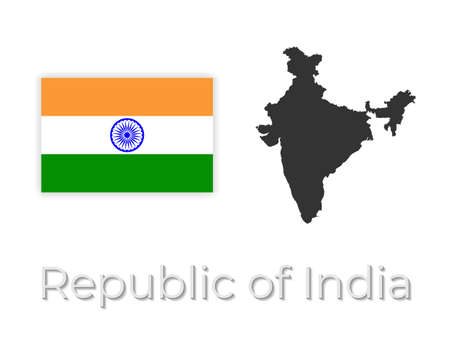map of india with flag design. Isolated on white background vector illustration 矢量图像
