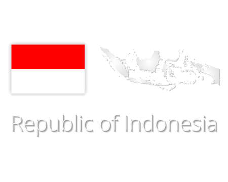 indonesia map with flag. Vector illustration EPS10.