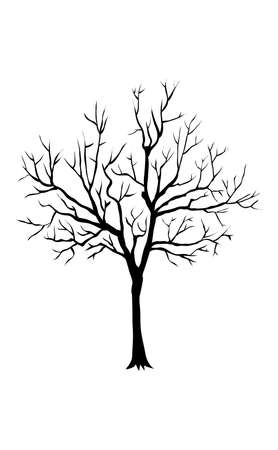 Vector image of dry tree silhouette on white background. EPS10. Stock fotó - 155729553
