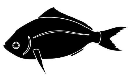 Yellowtail Fusilier or Caesio teres fish silhouette on white background illustration EPS10.