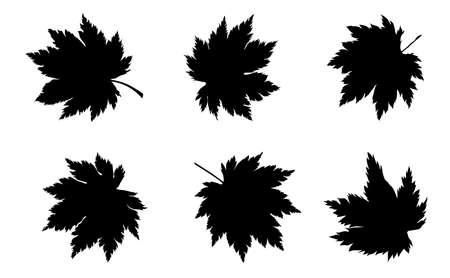 silhouette of maple leaves set. vector illustration.