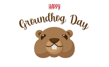 Happy Groundhog Day. Vector illustration with grounhog.