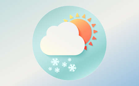 Weather icon of cloud with snow and sun. Cartoon colorfull art vector illustration. Sticky symbol of forecast. Meteorological infographics sign. Web icon vector design. EPS10.