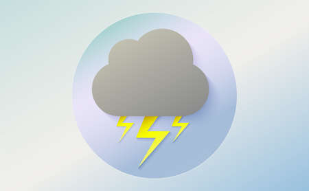 Weather icon of cloud with lightning. Cartoon colorfull art vector illustration. Sticky symbol of forecast. Meteorological infographics sign. Web icon vector design. EPS10.
