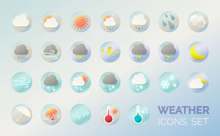 Weather icons set. Cartoon colorfull art vector illustrations. Sticky symbols of forecast. Meteorological infographics signs. Web icons vector design