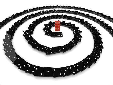 effetto domino 3d individualità concetto spirale nera  Archivio Fotografico