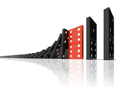 domino effect: domino effect 3d individuality concept Stock Photo