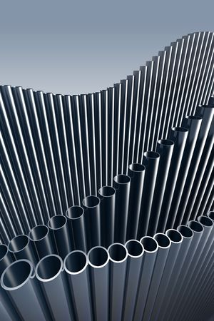 pipe organ: 3d abstract illustration of pipes. Hi res rendering. Stock Photo