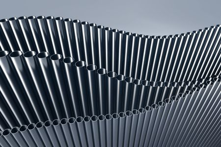 steel blue: 3d abstract illustration of pipes. Hi res rendering. Stock Photo