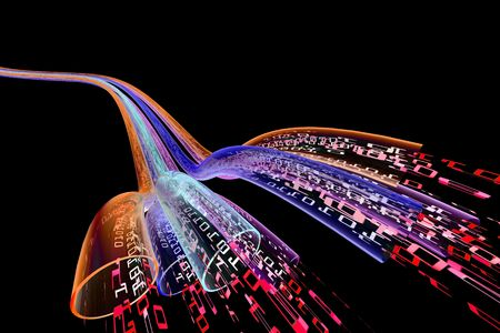 binary code data flowing through optical wires. red version. Stock Photo - 3906866