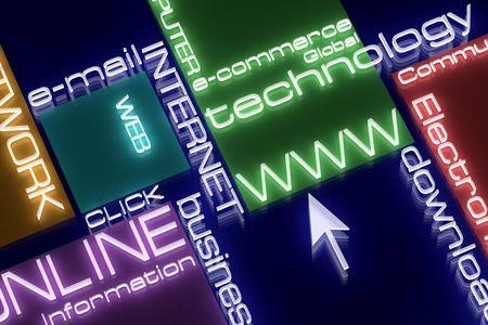 cafe internet: Internet concepto. 3D. Luz de ne�n. Dise�ar.