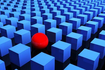 hi resolution: S�lo una roja en el grupo. Concepto de la individualidad. 3d. renderizado de alta resoluci�n. Foto de archivo