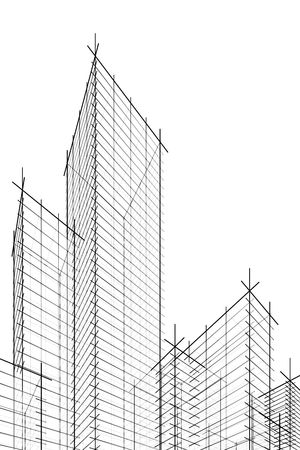 abstract wireframe skyscrappers. 3d rendering. Hi res. Stock Photo - 4293012