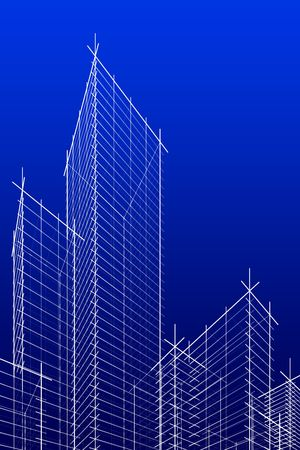 res: abstract wireframe skyscrappers. 3d rendering. Hi res.