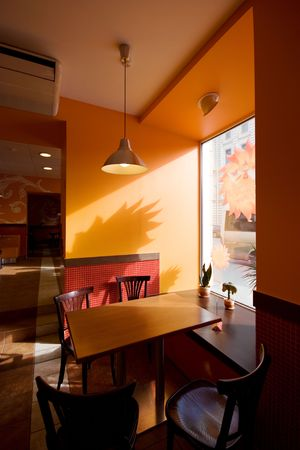 interiour: Public fast food. Interiour. Hi-res. Table for lunch Stock Photo