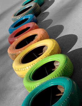 vertical composition: Colored tires. Racing. Vertical composition.