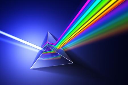 refraction of light: Light dispersion illustration. Hi-res 3d rendering.