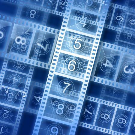 Film strip background. Hi-resolution illustration. Movie theme. Stock Illustration - 7573592