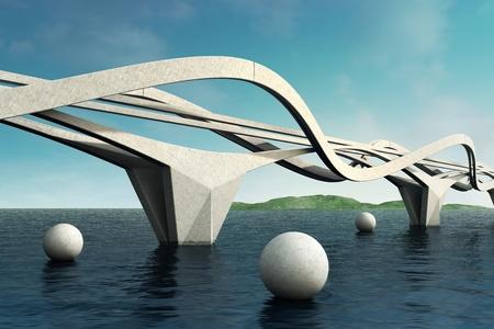 puente: Puente futurista. Composici�n arquitect�nica. 3D. Foto de archivo