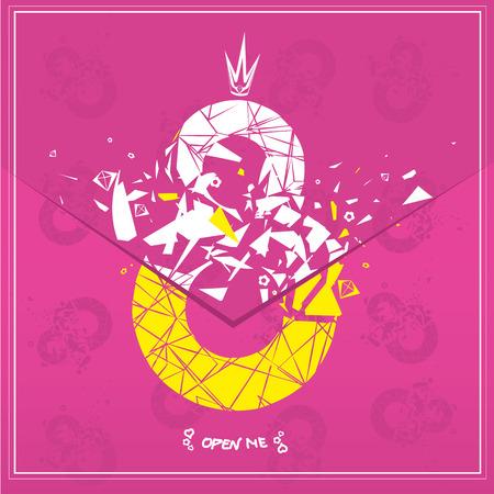 numeric: Broken pink eight numeric illustration