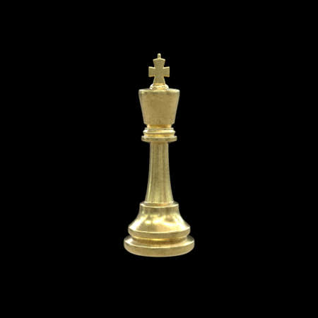 3d illustration of gold chess king isolated on black background. Minimalist render of strategy game piece with golden texture. Imagens