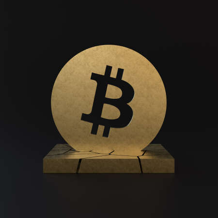 3d illustration of gold bitcoin on black background. Minimalist render of cryptocurrency on fractured platform with golden texture.