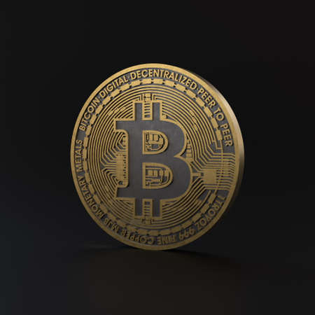 3d illustration of gold cryptocurrency on black background. Minimalist render of bitcoin with golden texture.